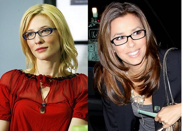 Eva Longoria y otra famosa luciendo gafas graduadas