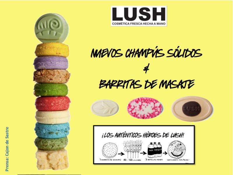 Lush, nuevos champús sólidos y barritas de masaje
