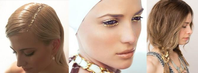 peinados y maquillaje con pan de oro