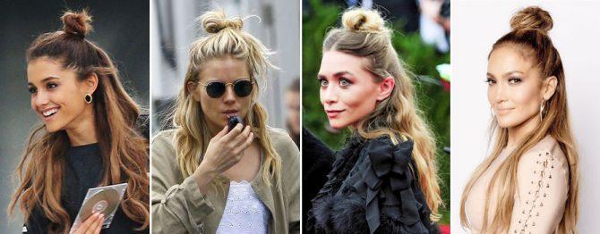 famosas con peinado Half-up bun