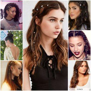 mujeres con piercings en el pelo